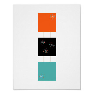 Stack Squares Mid Century Modern Styled Poster