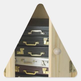StackBriefcasesInArmoire070515 Triangle Sticker