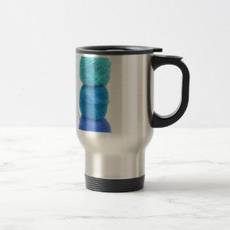 stacked balls of blue yarn 15 oz stainless steel travel mug