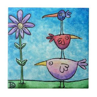 Stacked Birds Ceramic Tile