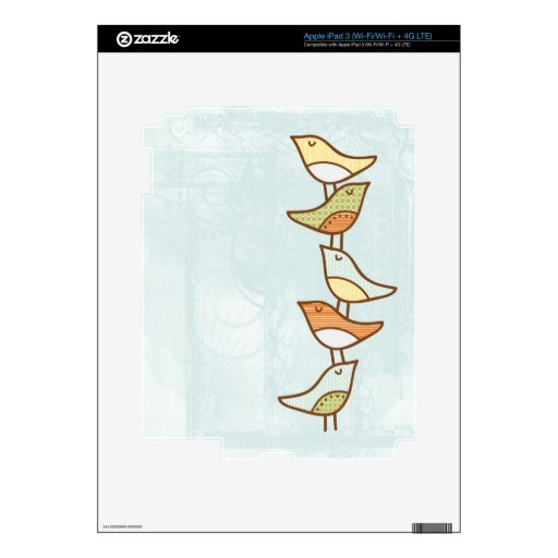 stacked birds trendy cover decal for iPad 3