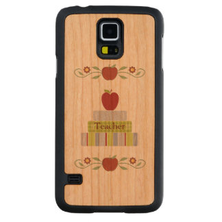 Stacked Books Teacher Wooden Samsung S5 Case Carved® Cherry Galaxy S5 Case