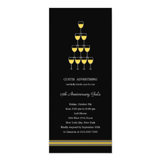 """Stacked Champagne Corporate/Business Party Invite 4"""" X 9.25"""" Invitation Card"""