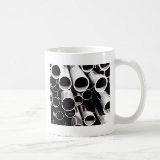 stacked circles of steel coffee mug
