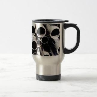 stacked circles of steel travel mug