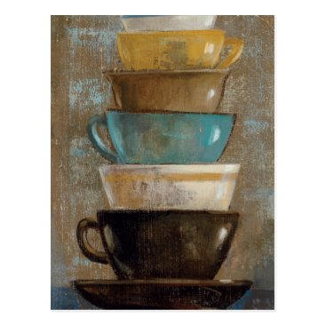 Coffee Themed Stacked Coffee Cups Postcard