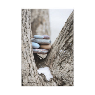 Stacked Colored Beach Stones in Tree Trunk Soft Canvas Print
