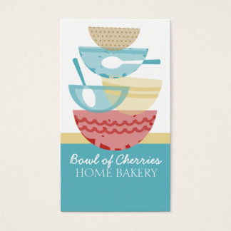 Stacked cooking baking mixing bowls gift tag card