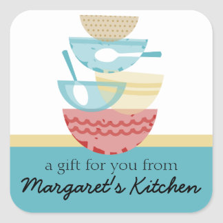 Stacked cooking baking mixing bowls gift tag label square sticker