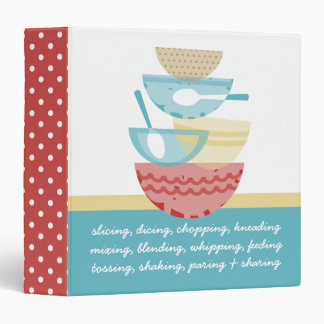 Stacked cooking baking mixing bowls recipe binder