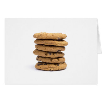 stacked delicious chocolate chip cookies greeting cards