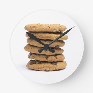 stacked delicious chocolate chip cookies round wall clocks