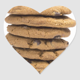 stacked delicious chocolate chip cookies heart sticker