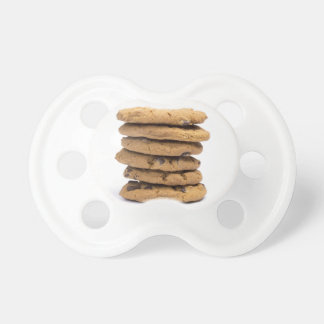 stacked delicious chocolate chip cookies pacifier