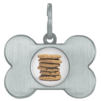stacked delicious chocolate chip cookies pet tags