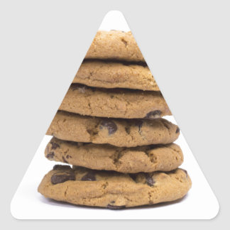 stacked delicious chocolate chip cookies triangle sticker