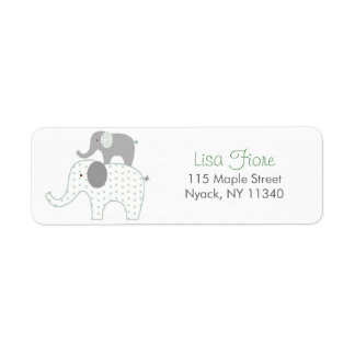 Stacked Elephant Baby Shower Address Labels
