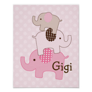 Stacked Elephant with Polka Dots Art Print