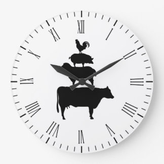 Stacked Farm Animals Large Clock