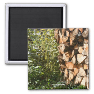 Stacked Firewood Nature Photography Magnet