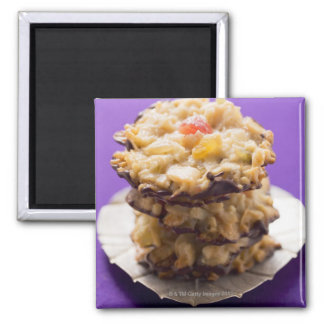 Stacked florentines on plate, close-up 2 inch square magnet