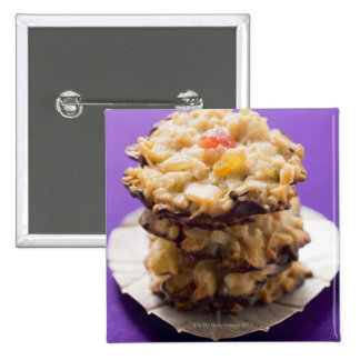 Stacked florentines on plate, close-up pinback button
