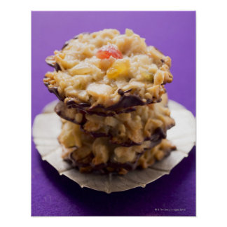 Stacked florentines on plate, close-up poster