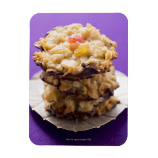 Stacked florentines on plate, close-up rectangular photo magnet