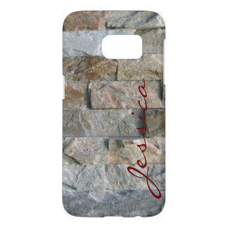Stacked Gray Granite Stone Slabs With Your Name Samsung Galaxy S7 Case