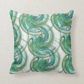 Stacked Green Spinning Waves Throw Pillow