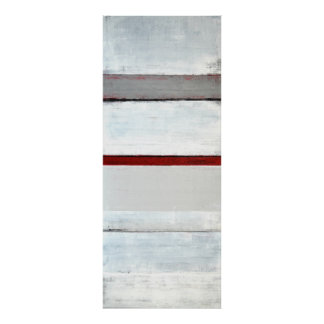 'Stacked' Grey and Red Abstract Art Poster Print