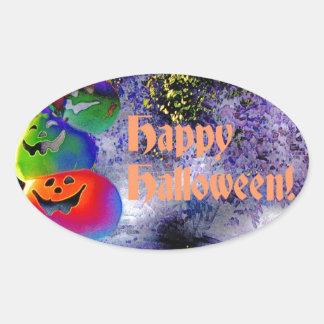 Stacked Halloween Pumpkins in Gimp Art Oval Sticker