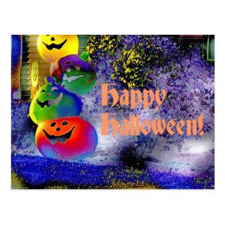 Stacked Halloween Pumpkins in Gimp Art Post Cards
