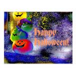 Stacked Halloween Pumpkins in Gimp Art Postcard
