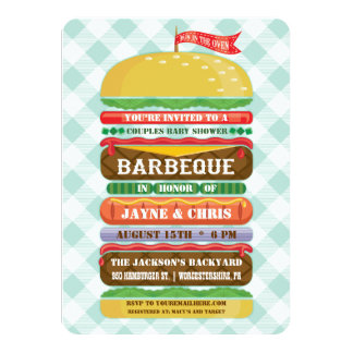 Stacked Hamburger Baby Shower Barbecue Card