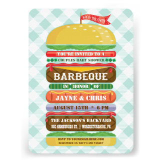 Stacked Hamburger Baby Shower Barbecue Personalized Invite