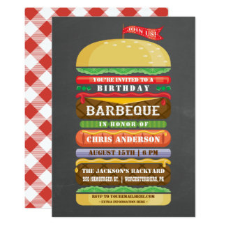 Stacked Hamburger Birthday BBQ Chalkboard Card