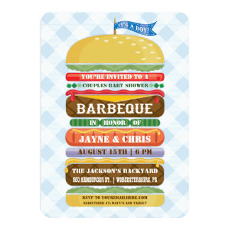 Stacked Hamburger Boy Baby Shower Barbecue 4.5x6.25 Paper Invitation Card