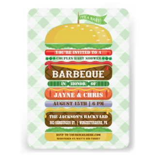 Stacked Hamburger Gender Neutral Baby Shower BBQ Personalized Announcement