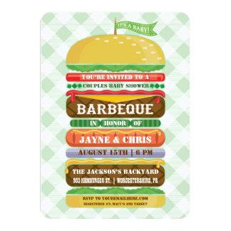 Stacked Hamburger Gender Neutral Baby Shower BBQ 4.5x6.25 Paper Invitation Card