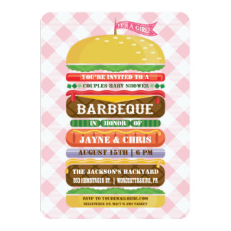 Stacked Hamburger Girl Baby Shower Barbecue 4.5x6.25 Paper Invitation Card