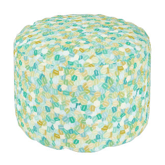 Stacked Jade Green Hexagons Round Pouf