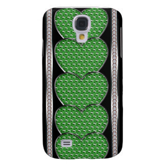 Stacked Jewel Hearts In Green Samsung S4 Case