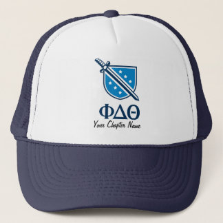 Stacked Logo and Letters - Blue 1 Trucker Hat