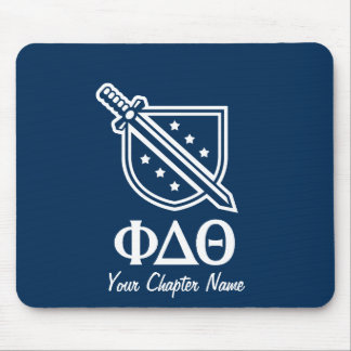 Stacked Logo and Letters - Blue  and White Mouse Pad