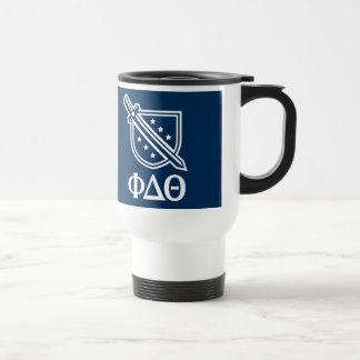 Stacked Logo and Letters - Blue  and White Travel Mug