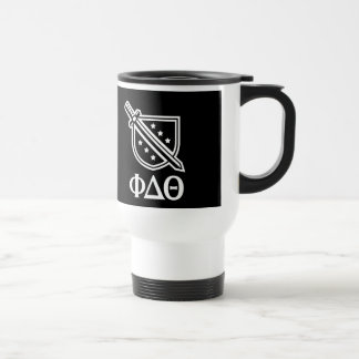 Stacked Logo and Letters - White 2 Travel Mug