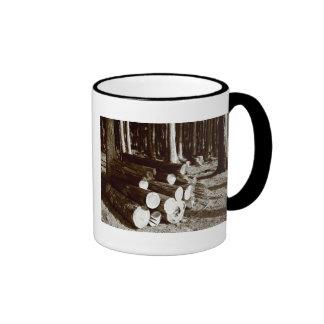 Stacked logs ringer coffee mug