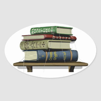 Stacked Old books Oval Sticker