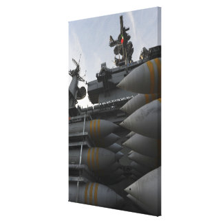 Stacked ordnance ready to be loaded canvas print